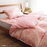 羽毛 暖かい 防ダニ 抗菌 防臭 2層式 布団セット 柄ピンク