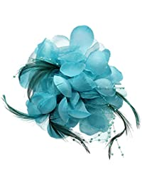 SODIAL(R)布ブローチ、羽の形、青いの花、女の子のギフト