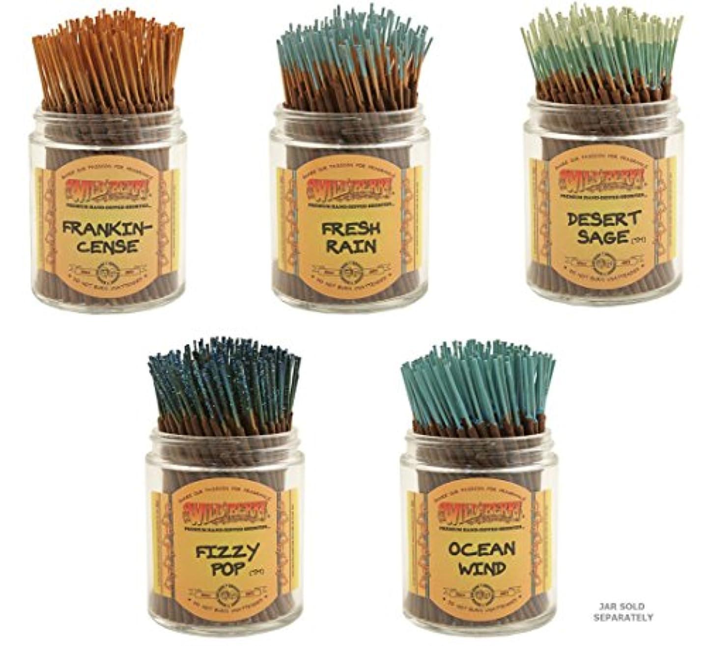 計算するポジティブ分数Wildberry Short Incense Sticks – Set of 5秋Fragrances – 砂漠セージ、Fizzy Pop , Frankincenseフレッシュ、雨、海洋風( 100各パック、合計500...
