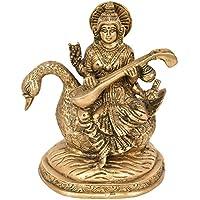 女神Saraswati Seated On Swan – 真鍮Statue