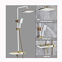 シャワーヘッド、ハンドヘルドシャワースクエアシャワー3モード設定バスシャワーキットクロームシャワーヘッドタップ付きパイプセット全銅製ブースターノズル,Platinum