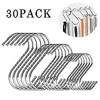 S字型フック 錆び防止 鍋やフライパンを吊るす用 高耐久ステンレススチールメタルハンガー 家庭 オフィス キッチン用品 30個セット