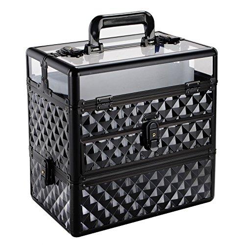 Hapilifeネイルパーツ マニキュア ネイルLEDライト ネイルケアー用品収納 メイクボックス 化粧箱 スポンジトレイ 仕切り付き 鍵付き 持ち歩き可能 おしゃれ ブラック