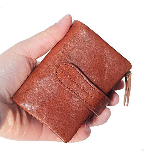 ONSTRO 三つ折り 財布 メンズ レディース カーフ レザー 小銭入れは取り外し可能 カード入れ コンパクト 柔らかい ブラウン