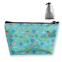 色とりどりのきのこの女性の化粧品袋多機能の洗面用品のオルガナイザー袋、ジッパーが付いている手携帯用袋旅行洗浄貯蔵容量(台形)