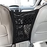 MICTUNING Upgraded 2-Layer Universal Car Seat Storage Mesh/Organizer - Mesh Cargo Net Hook Pouch Holder for Purse Bag Phone Pets Children Kids Disturb Stopper-Dual Layer