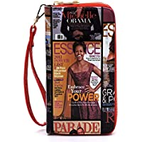 Janin Handbag Michelle Obama Magazine Cover Collage Double Zip Around Wallet Wristlet