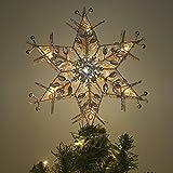 Valery Madelyn LED クリスマスツリー トップ スター シルバー 純潔 ダイヤモンド装飾 エレガント クリスマス ツリー オーナメント 飾り デコレーション 線1m 高さ 30.5cm