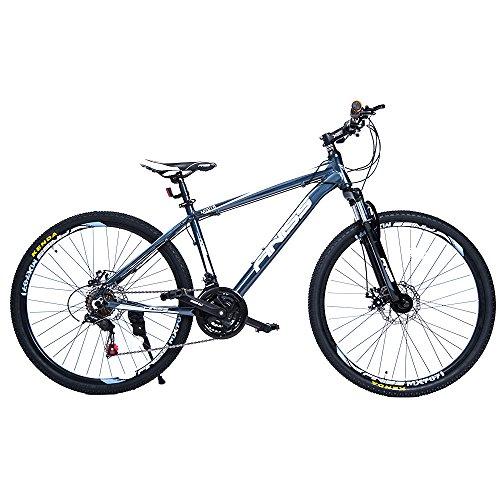 (オーエスジェー)OSJ 自転車 アルミマウンテンバイク 26インチ アルミフレーム MTB フロントサスペンション シマノ21段変速 (グレー, ハイフレーム)
