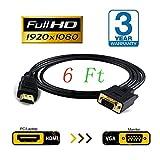JBingGG HDMIからVGAケーブルアダプタへのモニターD-SUB 15ピンHDMIゴールドオスからVGAオスコネクタへコード変換器コンピュータPC 1.8M(黒)
