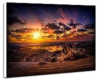 サンセットコースト - 自然 風景 壁掛け式の装飾画 印刷の絵 ポスター(40cmx60cmx2.5cm)