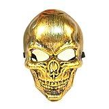 ドクロ 骸骨 お面 スカル フェイス マスク 仮面 ハロウィン コスプレ 衣装 道具 イベント パーティー グッズ (ゴールド)