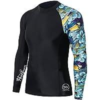 HUGE SPORTS Men's Splice Compression Rash Guard Long Sleeve Surf Wetsuit Swim Shirt UV Sun Protection UPF 50+