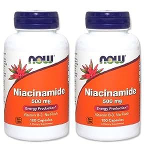 【バリュー2本セット】[海外直送品] NOW Foods ナイアシンアミド(B-3) 500mg 100粒 Niacinamide (B-3) 500 ...
