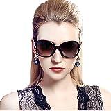 Duco 女性のスタイリッシュな偏光サングラス スター グラス 100% uv プロテクション 2229 (ブラック)