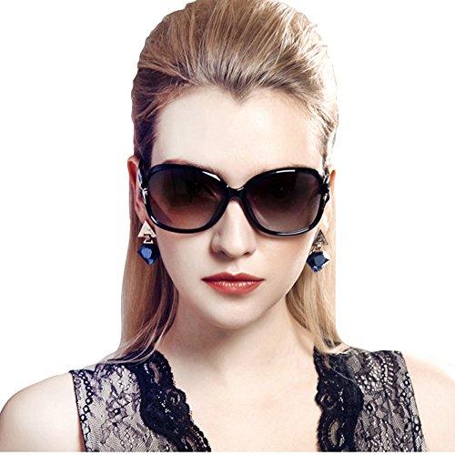 Duco 女性のスタイリッシュな偏光サングラス スター グラス 100%uv プロテクション 2229 (ブラック)