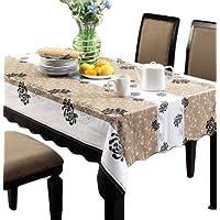 お部屋 の インテリア に おしゃれ な テーブル クロス ブラウン ストライプ 花 柄 模様 が エレガント PVC 素材 防水 撥水 機能 あり 137×183cm テーブル以外にも使える 長方形