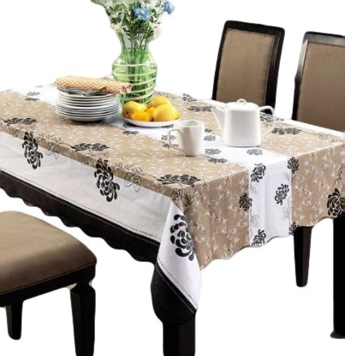 抵当バックアップ斧お部屋 の インテリア に おしゃれ な テーブル クロス ブラウン ストライプ 花 柄 模様 が エレガント PVC 素材 防水 撥水 機能 あり 137×183cm テーブル以外にも使える 長方形