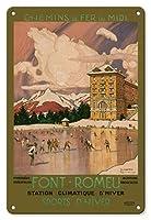 22cm x 30cmヴィンテージハワイアンティンサイン - フォンロム - Odeillo, ピレネーオリエンタル, 南フランス - 経路ミディアイアン鉄道 - ウィンタースポーツ - ビンテージな世界旅行のポスター によって作成された トニー・ジョージ・ルー c.1923