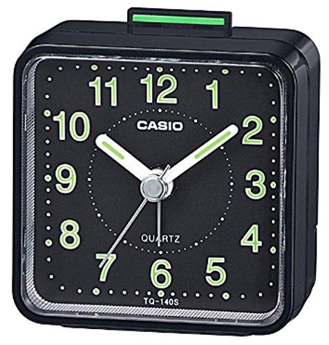 クオーツ式小型置き時計 TQ-140S-1JF ブラック 1個