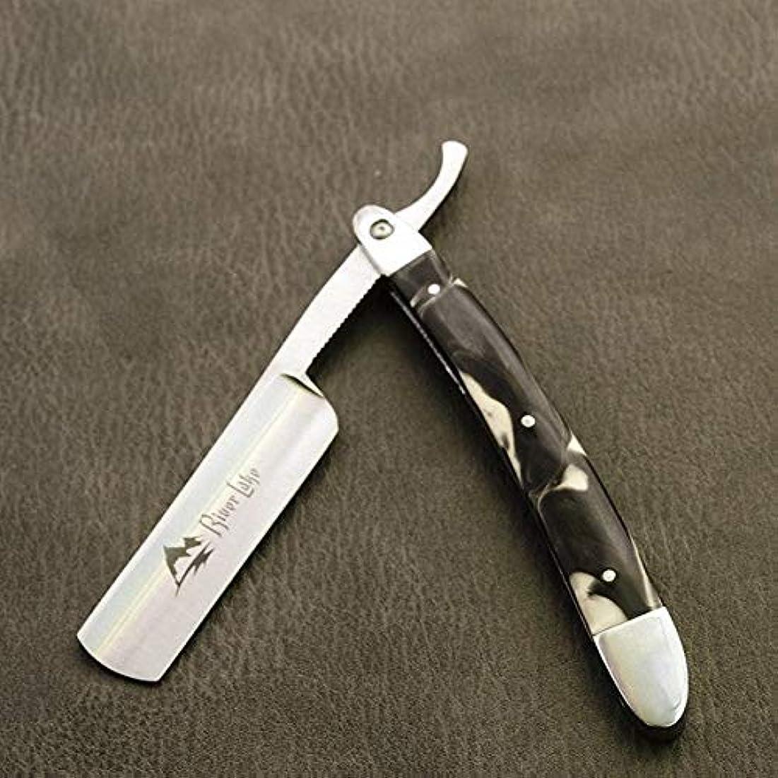 無効寄託知り合いになるKlaxiaz - 高品質男性ヴィンテージストレートエッジステンレス鋼髪シェイパー理容カミソリ折りたたみマニュアルシェービングナイフ