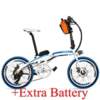 QF600エリート240W 48V 12Ahポータブル20インチ折りたたみ自転車、アルミ合金フレーム電動自転車、両方のディスクブレーキ (白靑, 標準+予備電池)