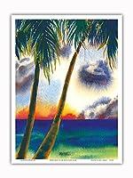 空中に音楽があります - ハワイアンサンセット - オリジナルハワイ水彩画から によって作成された ペギー チュン - アートポスター - 23cm x 31cm