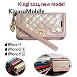 KigaruMobile KLOGI正規品 2014年春モデル iPhone5s/5c/5 PUレザー手帳タイプ ストラップ・カードフォルダー付 エナメル&ラメ (ピンク)