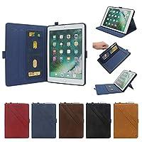 新型 iPad Pro 11 インチA1980・A2013・A1934 2018 iPadPro12.9 ケースA1876・A2014・A1895 iPad6 iPad5 iPad Air air2 Pro9.7ケース ペンホルダー カード収納 iPadPro 10.5 12.9 mini4 mini1/2/3PODITAGI (iPad6/iPad5/iPadPro9.7/iPadAir/Air2兼用, ネイビー)
