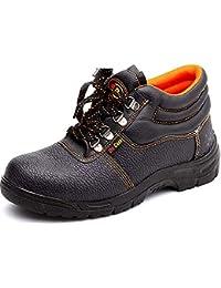 安全靴 作業靴 メンズ ミドルカット セーフティーシューズ 短靴 厨房シューズ ワークブーツ 黒 先芯入り 耐油 耐滑 耐衝撃 耐摩耗 防水 防汚 通気性抜群 軽量 ウォーキング おしゃれ 24.5~27.5cm