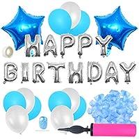 誕生日飾り付け cnomg HAPPY BIRTHDAY バルーン 特大スターバルーン フラワーシャワー エアーポンプ付き ブルーセット