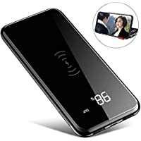 モバイルバッテリー Qi ワイヤレス充電 10000mAh 急速充電 無線充電器 2 USBポート 置くだけ充電 スタンド機能付 持ち運び 無線と有線両用 3台同時充電 iPhone X / iPhone8/8Plus / Galaxy 8/8+ 各種他対応(黒)