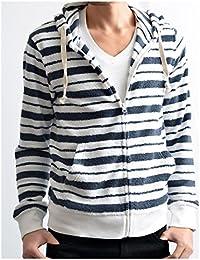 (ハルハム) HALHAM パーカー メンズ 春 おしゃれ 大きいサイズ ブランド 薄手 ジップアップ 春物 パイル ボーダー 366008H (XL, 01B/ホワイトxネイビー)