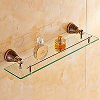 バスルームアクセサリー銅ヨーロッパのドレッシングテーブル単一のガラスのバスルームの棚