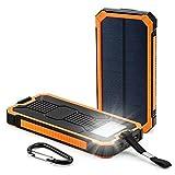 GBD_JPソーラーモバイルバッテリー一体型 太陽エネルギー ソーラーパネル電源 スマホ給電 大容量30000mAh iPhone全種対応 外出携帯 防水 防塵 耐衝撃 コンパクト 防災 緊急 移動充電器 アウトドア用品(オレンジ)