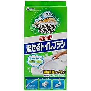 スクラビングバブル トイレ洗剤 流せるトイレブラシ 本体ハンドル1本+付替用4個セット