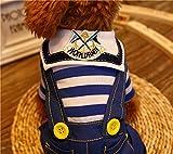 Milkee ペット服 犬服 テディ犬  犬散歩服 ニットウェア 海軍服 つりズボン ストライプ コットン (S)