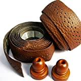 SEic Accessories Bicycle Handle Bar Tape Wraps, Classic Bicycle prat, Real Leather, Handlebar Tape, 2color-Brown