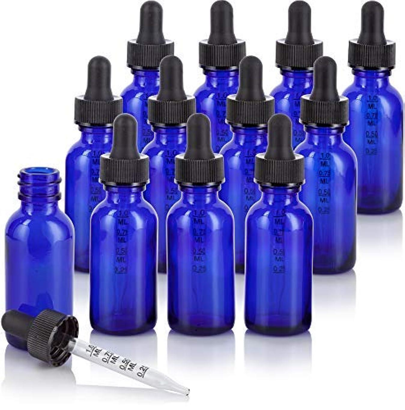 少ないバタフライほのめかす1 oz Cobalt Blue Glass Boston Round Graduated Measurement Glass Dropper Bottle (12 pack) + Funnel for essential...