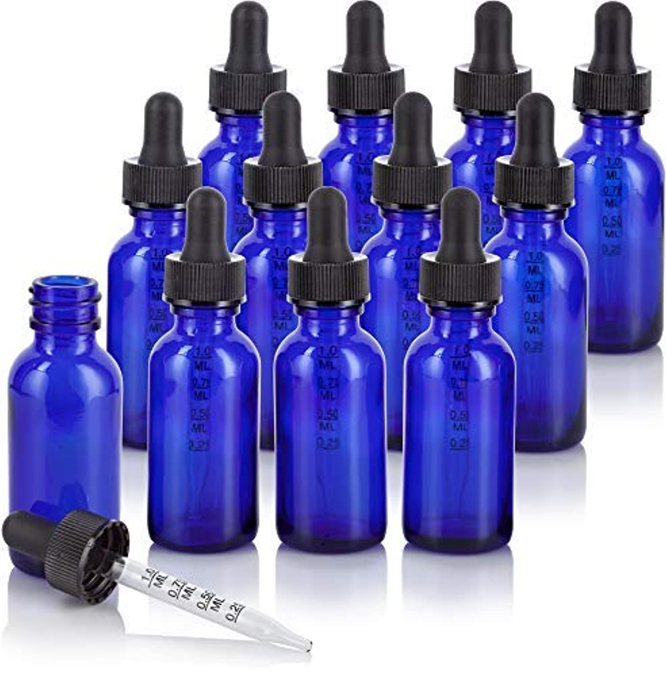 フェローシップロンドンアイデア1 oz Cobalt Blue Glass Boston Round Graduated Measurement Glass Dropper Bottle (12 pack) + Funnel for essential...