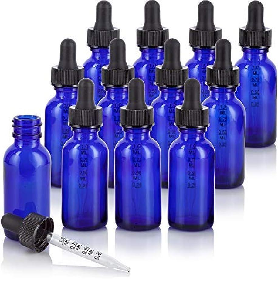 虹橋脚ゲージ1 oz Cobalt Blue Glass Boston Round Graduated Measurement Glass Dropper Bottle (12 pack) + Funnel for essential...
