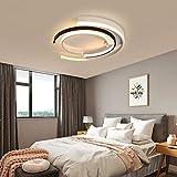 寝室 シーリングライト3リングデザインシーリングランプリモコン付き調光対応メタルアクリルランプシェードクリエイティブLEDシーリングライトリビングルームダイニングルームオフィス照明,36wø40cm 画像