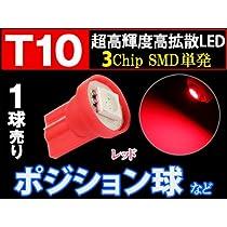 T10 3chip SMD 単発バルブ【赤】