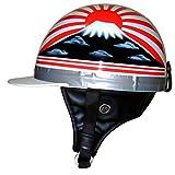 HANDLE KING バイクヘルメット コルク半 コルク帽 SG規格品 本物コルク仕様 [旭日 富士×ホワイト 白 フリーサイズ 57-62cm] 半キャップ 半ヘル 半帽 ハーフキャップ