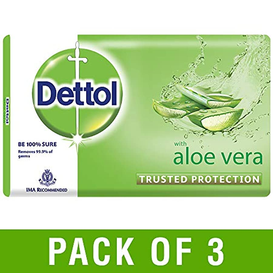 怠故障パフDettol Aloe Bathing Bar Soap - 100 g (Pack of 3)