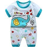 エルフ ベビー(Fairy Baby)ベビー服 半袖ロンパース 可愛い象柄 ブルー サイズ:80