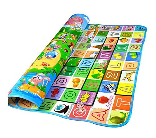 ベビー プレイマット 両面 ルームマット 赤ちゃん 遊びマット クロールマット ABC 英字 動物 田舎マット 2サイズ (1.8×2m)
