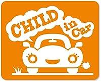 imoninn CHILD in car ステッカー 【マグネットタイプ】 No.25 クルマさん (オレンジ色)