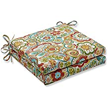 Pillow Perfect Outdoor Bronwood Carnival Squared Corners Seat Cushion, Multicolored, Set of 2, Multicolor, 20 in. L X 20 in. W X 3 in. D