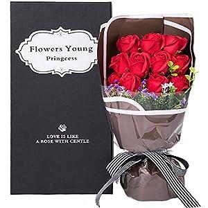 Fiore d'Amour  枯れない花 フラワーソープ 造花 大切な人に気持ちを伝える花束 バレンタイン 母の日 誕生日 ホワイトデー 入学 卒業 結婚記念日 先生の日 昇進 転居 など 様々な お祝い 最適なプレゼント (赤薔薇)